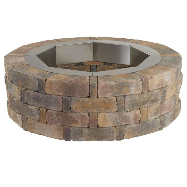 Pavestone RumbleStone 46 in. x 14 in. Round Concrete Fire Pit Kit No. 2 in Sierra Blend with Round Steel Insert