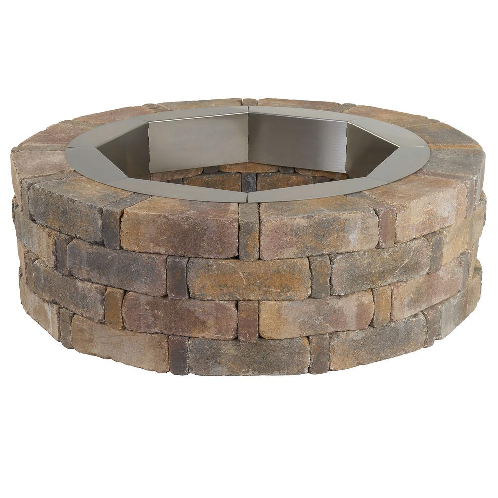 Pavestone Rumblestone 46 In X 14 In Round Concrete Fire Pit Kit No 2 In Sierra Blend With Round Steel Insert Rsk55877 The Home Depot