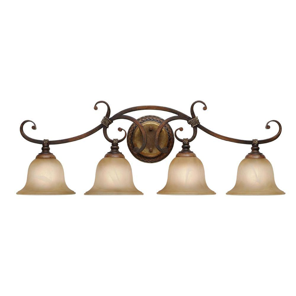 null 4 Light Vanity Light Antique Marbled Bronze Golden Pecan Finish-DISCONTINUED