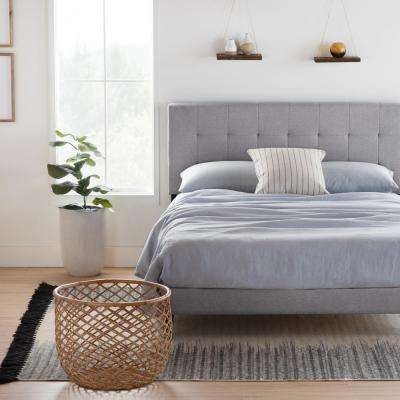 Cara Upholstered Platform Bed Frame with Square Tufted Headboard- Cal King, Stone