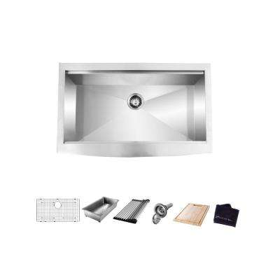 All-in-One Apron-Front Farmhouse Stainless Steel 30 in. Single Bowl Workstation Sink with Accessory Kit