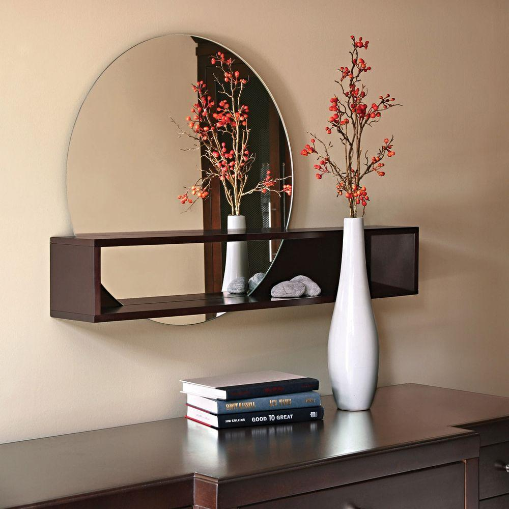 AZ Home and Gifts nexxt Tate 24 in. x 36 in. Espresso Wall Mirror with Shelf
