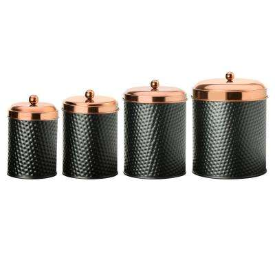 Ashby 4-Piece Metal Storage Canister Set with Copper Lids