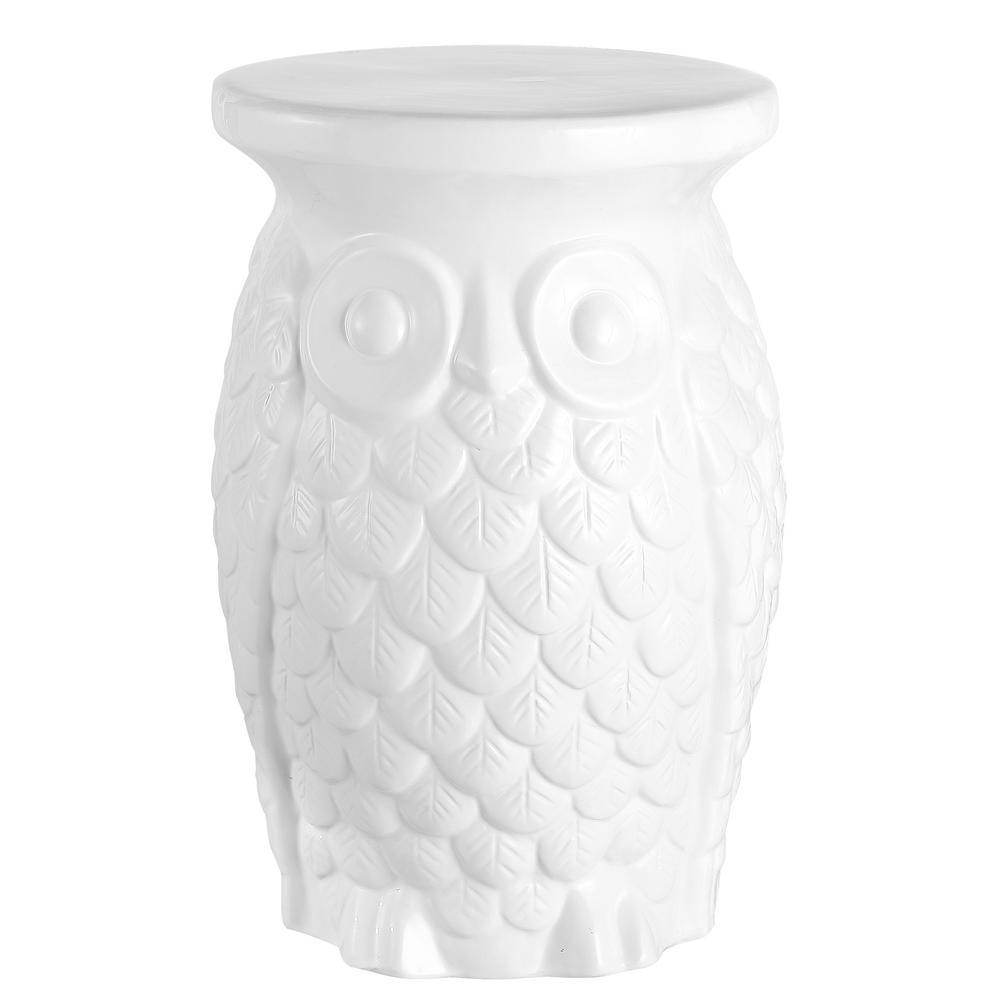 Groovy Owl 17.5 in. White Ceramic Garden Stool