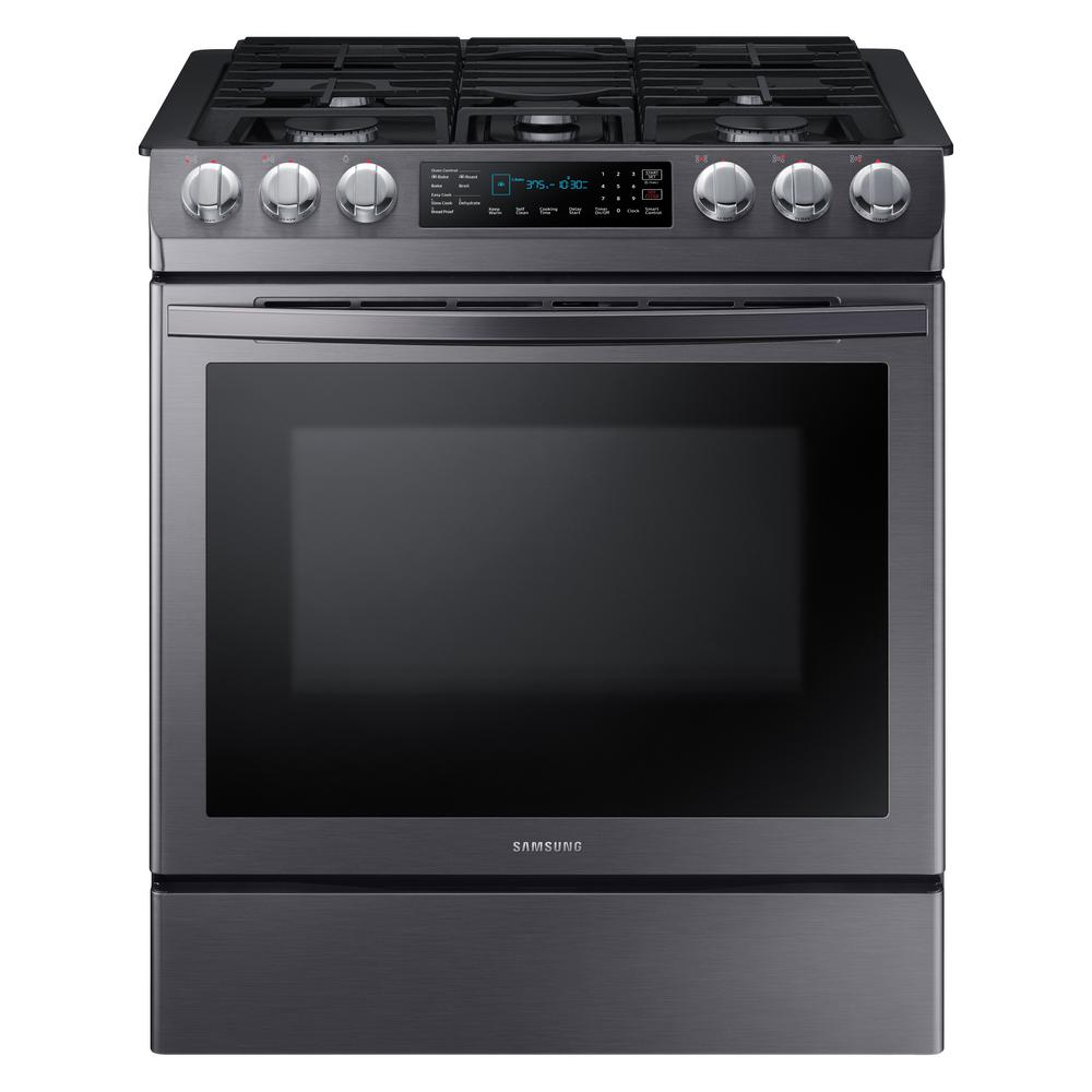 Samsung Samsung 30 in. 5.8 cu. ft. Single Oven Slide-In Gas Range with Self-Cleaning and Fan Convection Oven in Black Stainless Steel, Fingerprint Resistant