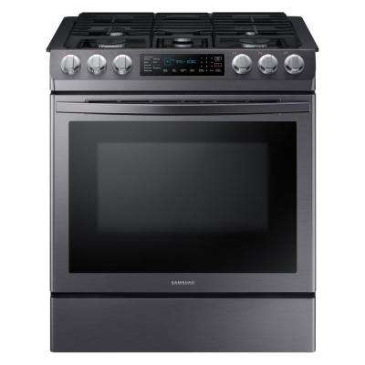 30 in. 5.8 cu. ft. Single Oven Slide-In Gas Range with Self-Cleaning and Fan Convection Oven in Black Stainless Steel