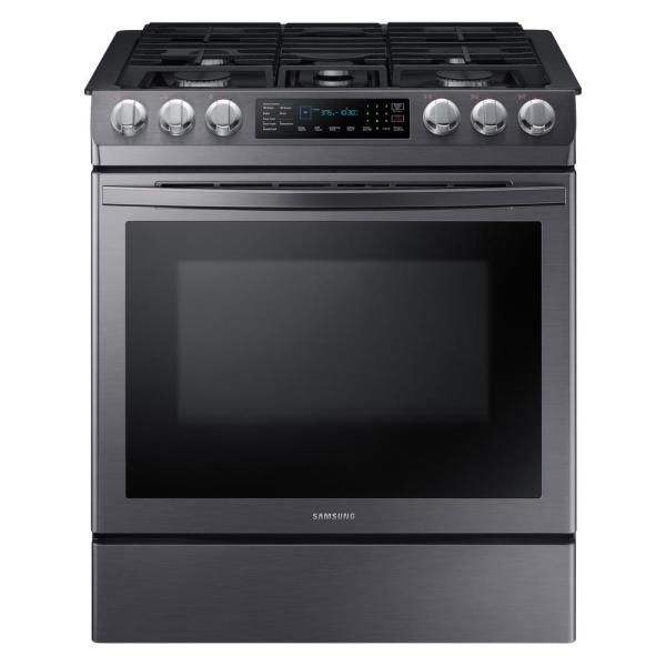 Samsung 30 in. 5.8 cu. ft. Single Oven Slide-In Gas Range with Self-Cleaning and Fan Convection Oven in Black Stainless Steel