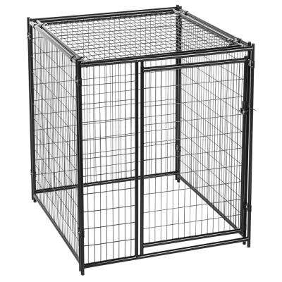 6 ft. H x 5 ft. W x 5 ft. L Black Modular Kennel with Predator Top
