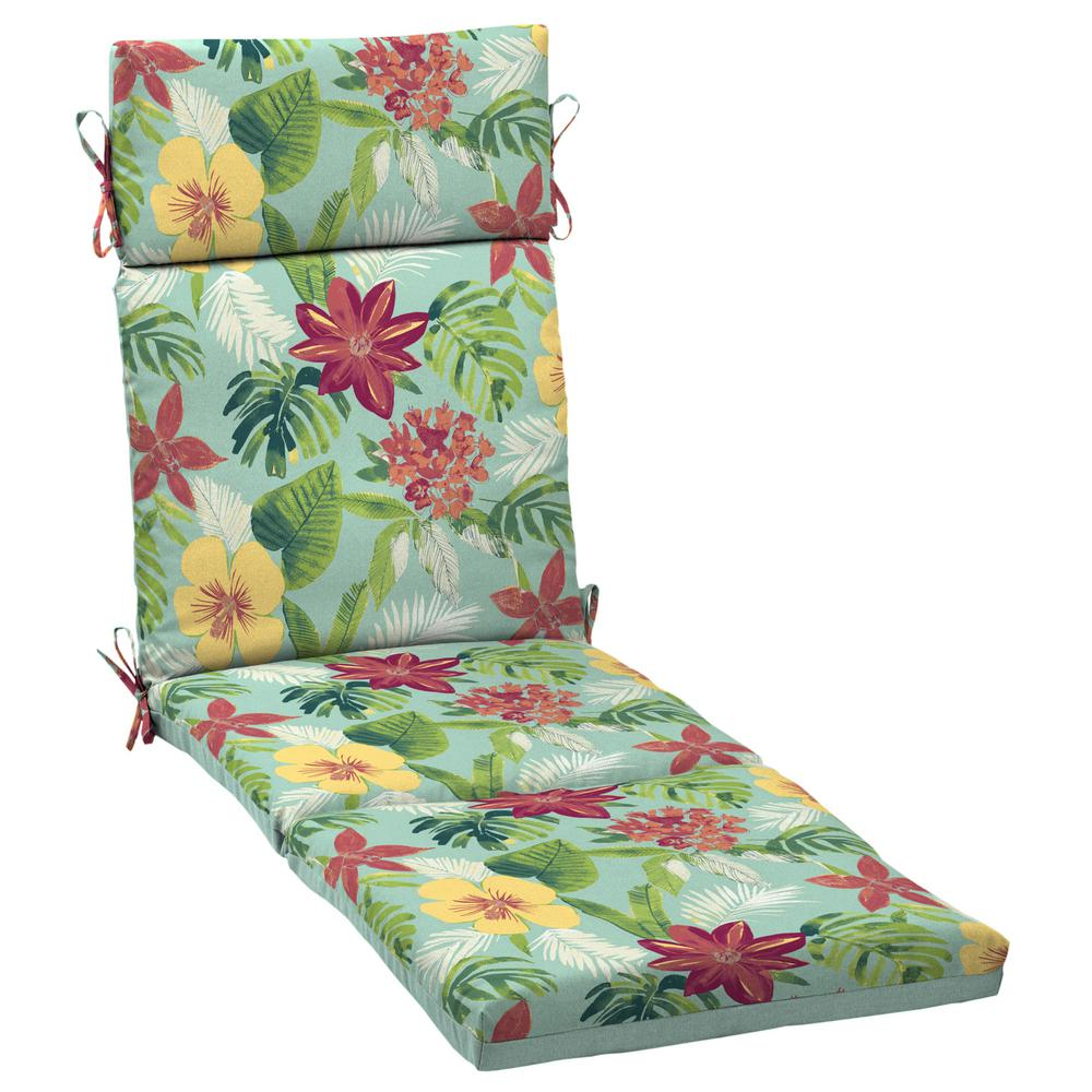 Arden Selections 21 x 72 Elea Tropical Reversible Outdoor Chaise Lounge Cushion