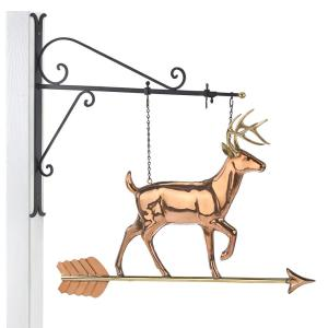Good Directions Hanging White Tail Buck Pure Copper Weathervane Sign with Decorative Bracket by Good Directions