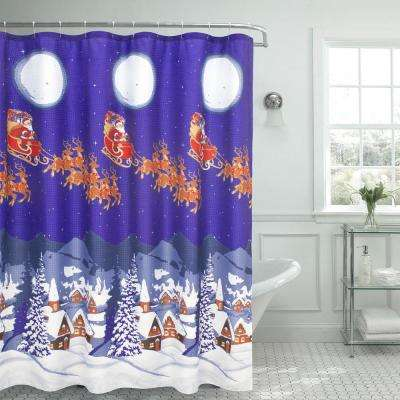 70 in. x 72 in. Christmas Santa Textured Shower Curtain