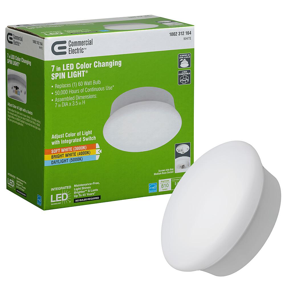 Commercial Electric Spin Light 7 In White Selectable Led Flush Mount 3000k 4000k 5000k Non Dimmable 810 Lumens