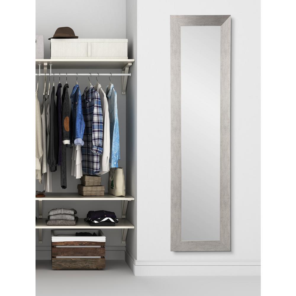 Oversized Dark Silver/Brown Composite Hooks Modern Mirror (71 in. H X 21.5 in. W)