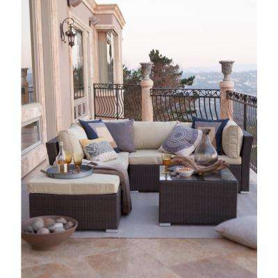 Jicaro Dark Brown 5-Piece Wicker Outdoor Sectional Set with Beige Cushions