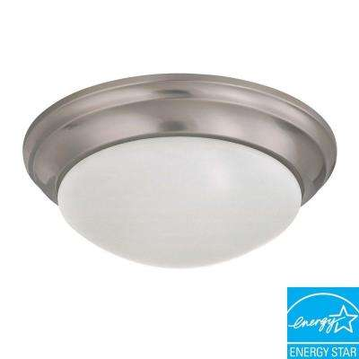 2-Light Brushed Nickel Flush Mount