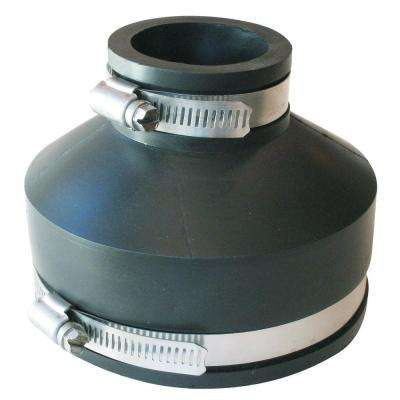 4 in. x 1-1/2 in. PVC C.I. and Plastic to C.I. and Plastic Flexible Coupling