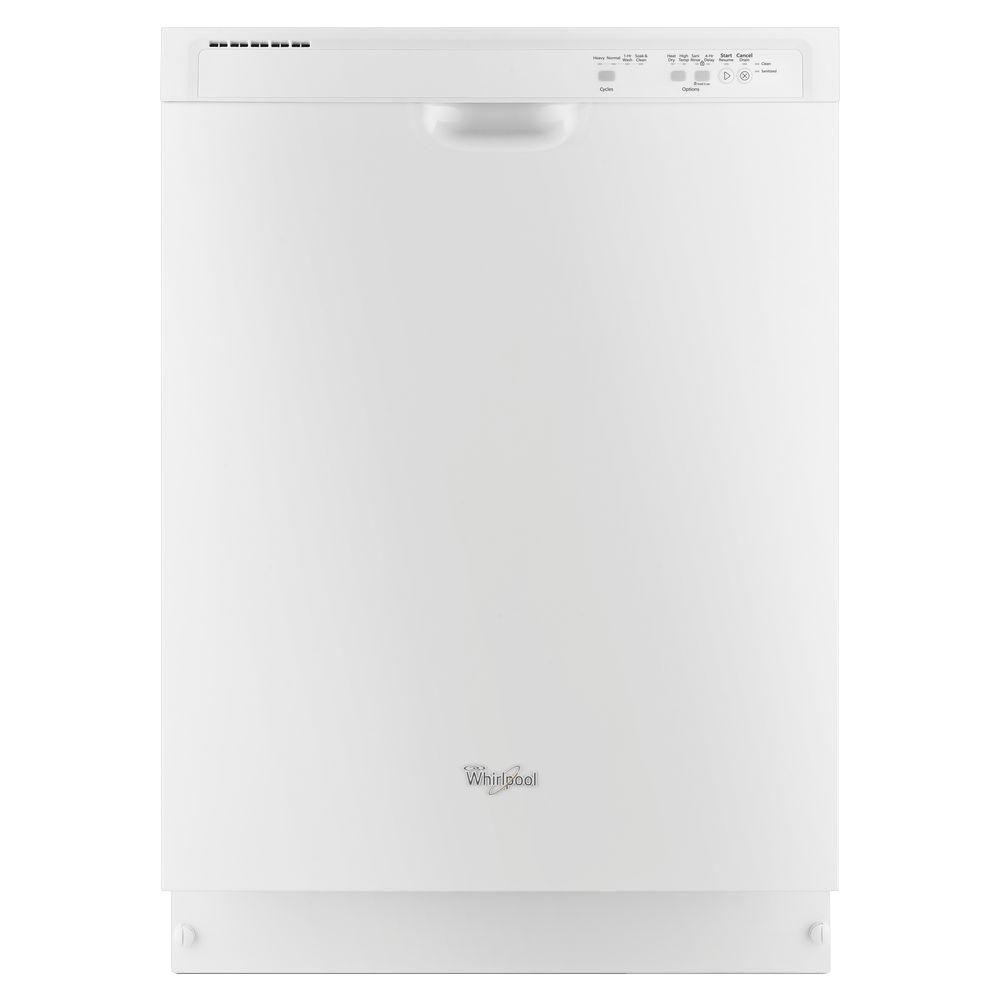 Whirlpool Front Control Dishwasher in White with Anyware Plus Silverware Basket