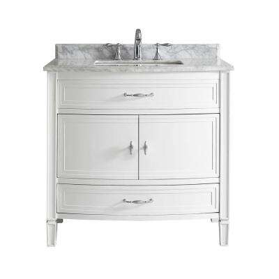 Dacosti 36 in. W x 22 in. D Vanity in White with Marble Vanity Top in White with White Sink