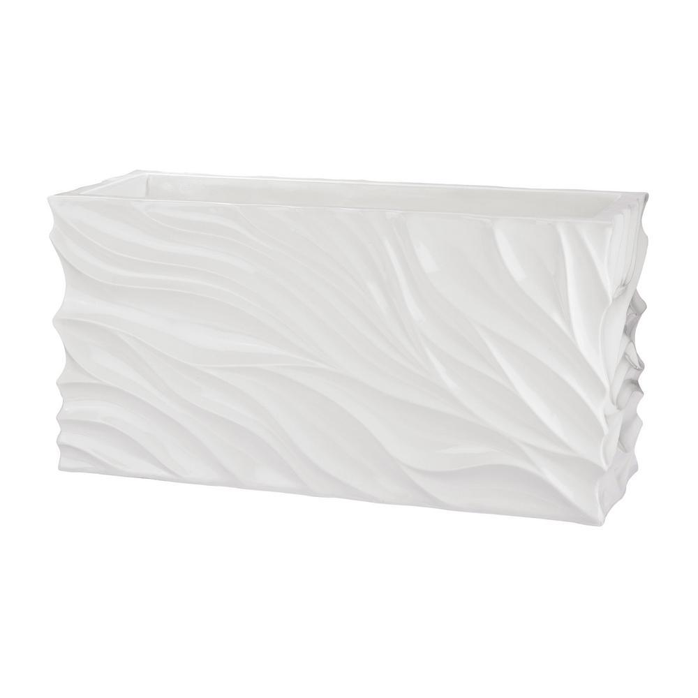 Swirl 31 in. x 12 in. x 16 in. White Fiberglass Table Planter