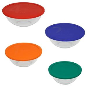 Pyrex 8-Piece Glass Mixing Bowl Set with Assorted Color Lids by Pyrex