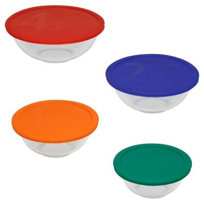 Smart Essentials 8-Piece Glass Mixing Bowl Set with Assorted Colord Lids