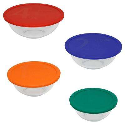 8-Piece Glass Mixing Bowl Set with Assorted Color Lids