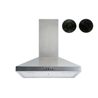 36 in. Convertible Wall Mount Range Hood in Stainless Steel with Aluminum Mesh filters Push Button and Carbon Filters