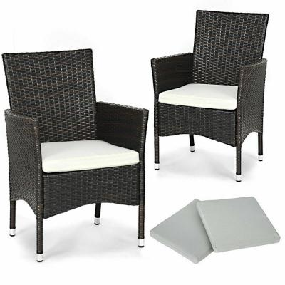 Mixbrown 2-Piece Patio Rattan Wicker Outdoor Dining Chairs Set with 2 Set White Cushion Covers