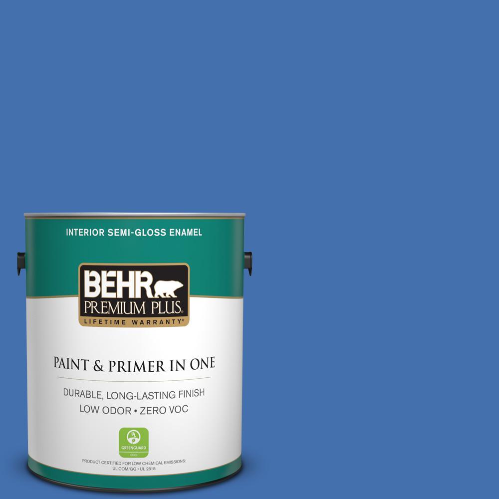 1 gal. #HDC-SM16-07 Croquet Blue Zero VOC Semi-Gloss Enamel Interior Paint