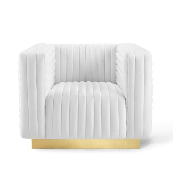 Charisma Channel White Tufted Performance Velvet Accent Armchair