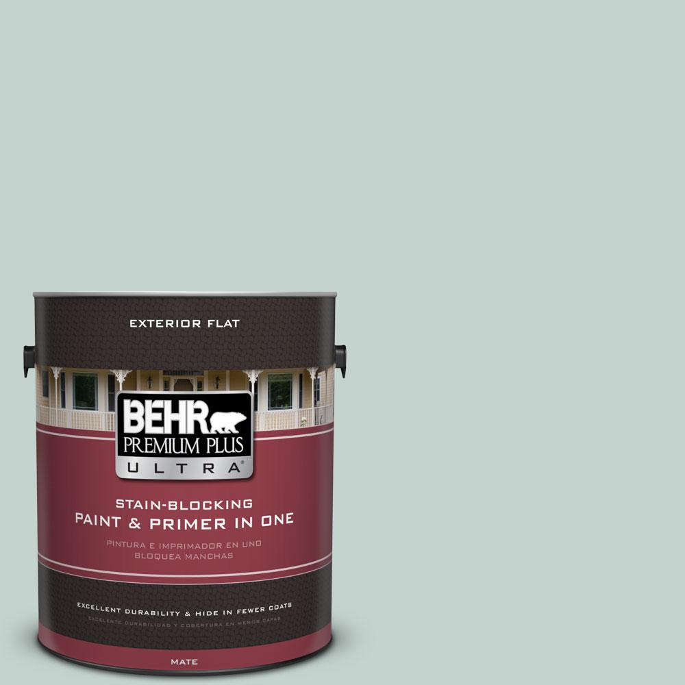 BEHR Premium Plus Ultra 1 gal. #N430-2 Nature's Reflection Flat Exterior Paint and Primer in One