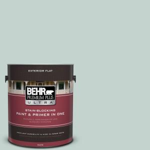 1 gal. #N430-2 Nature's Reflection Flat Exterior Paint and Primer in One