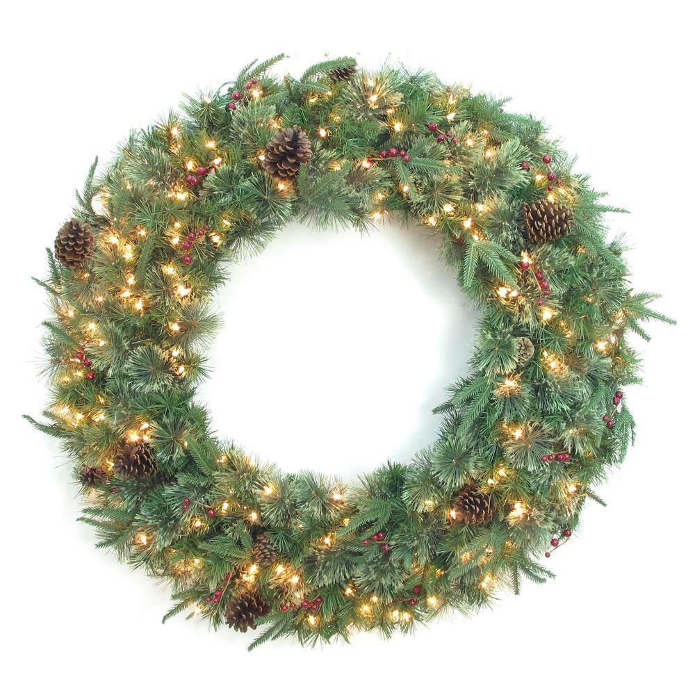 48 In Syracuse Cashmere Berry Artificial Wreath With 200 Warm White Led Light Bowothd171d The Home Depot