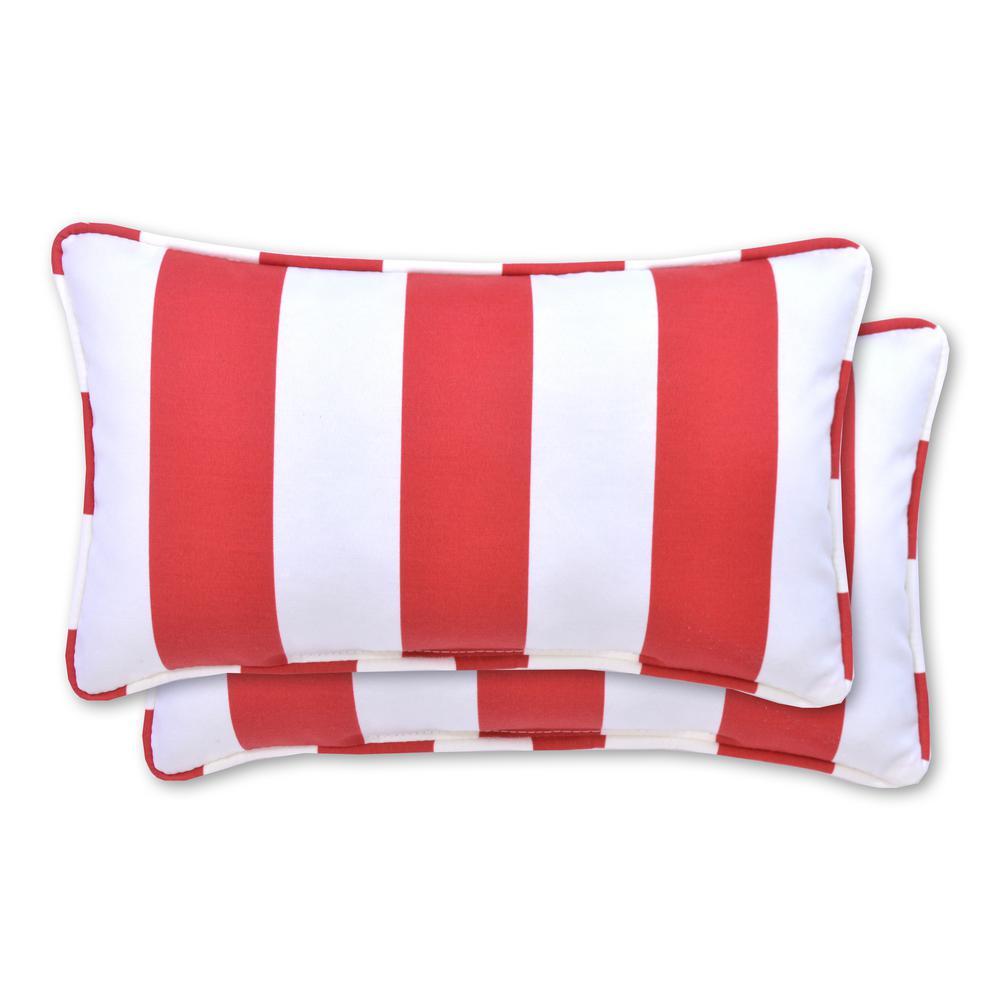 Red Cabana Stripe Rectangle Lumbar Outdoor Throw Pillow (2-Pack)