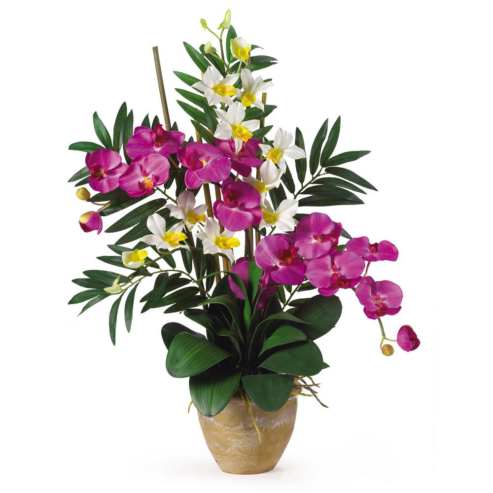 Nearly Natural 29 in. Double Phalaenopsis and Dendrobium Silk Flower Arrangement in Orchid and Purple If you're looking for an exquisite one of a kind piece then stop right here. This silk orchid arrangement is an exciting mixture of two classic Phalaenopsis orchid stems that intertwine with two dendrobium stems. You also notice shoots of bamboo and gorgeous green leaves that help to complete the warm tropical feel of this unbelievable piece. Standing 29 in tall and set in a timeless ceramic pot this silk orchid arrangement is sure to charm the masses.
