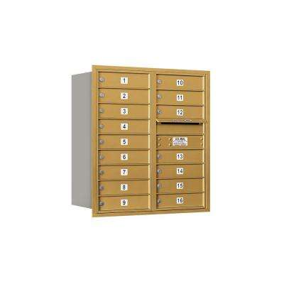 3700 Series 34 in. 9 Door High Unit Gold Private Rear Loading 4C Horizontal Mailbox with 16 MB1 Doors
