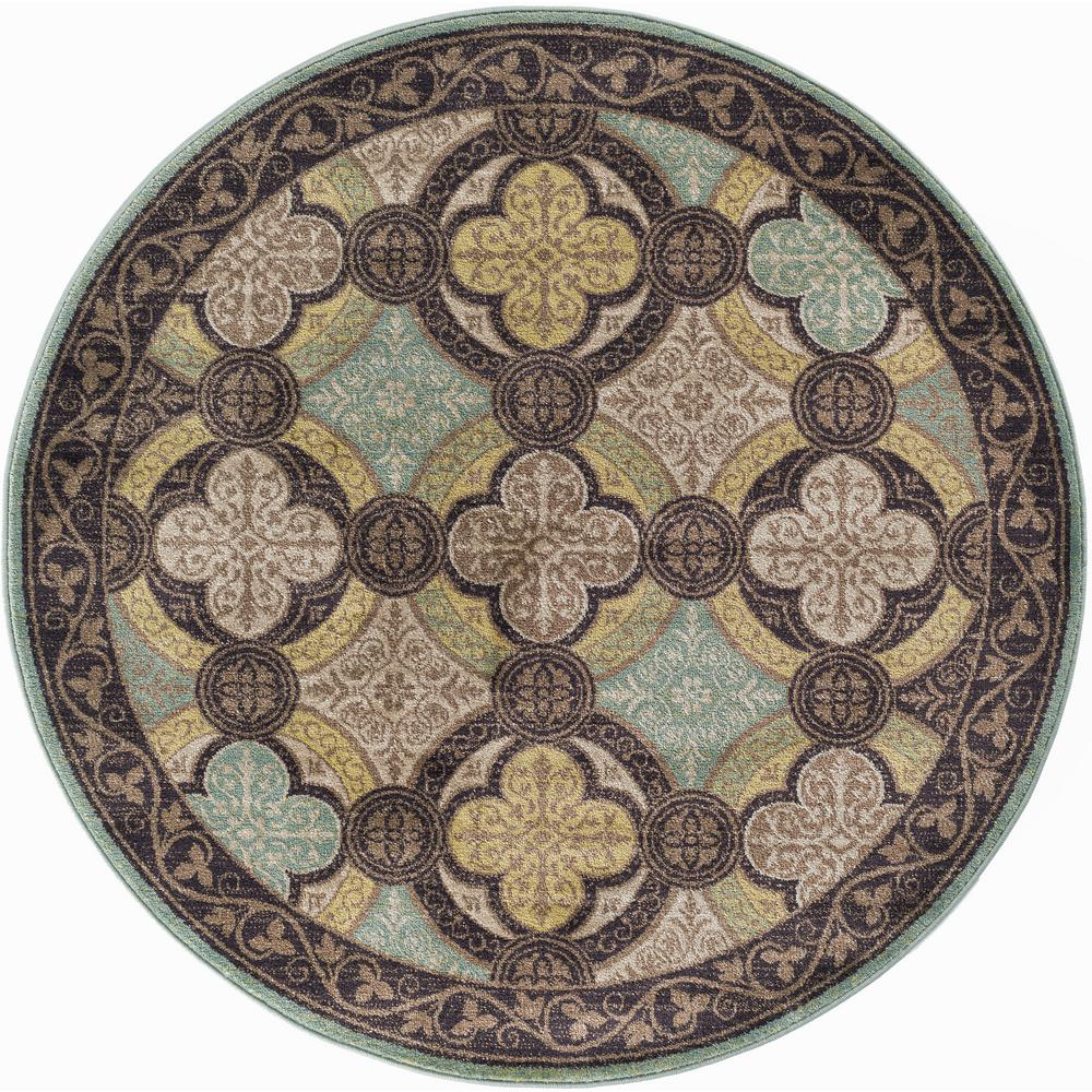Tayse Rugs Capri Brown 5 Ft. 3 In. Transitional Round Area Rug CPR1005 6RND    The Home Depot