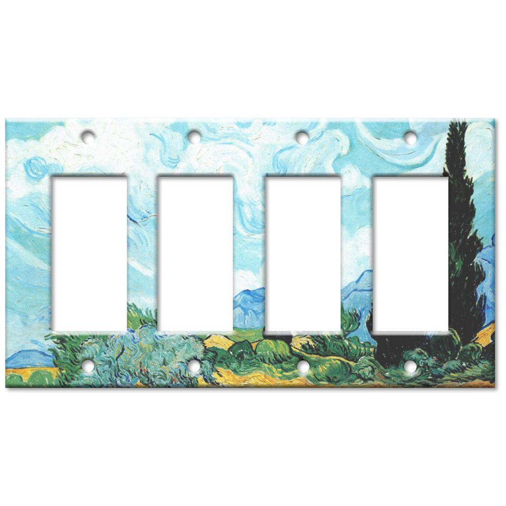 Art Plates Van Gogh Wheat and Cypress Quad Rocker Wall Plate