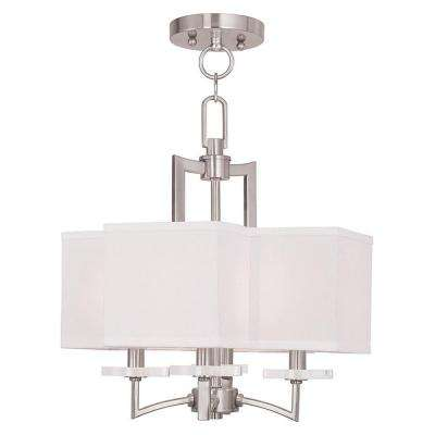 Woodland 4-Light Brushed Nickel Mini Chandelier with Hand Crafted Off-White Fabric Hardback Shade