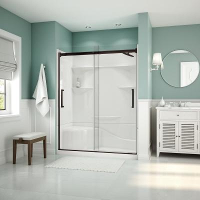 Artesia 56 in. - 59 in. x 74 in. Frameless Sliding Shower Door in Dark Bronze