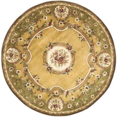 Classic Light Gold/Green 4 ft. x 4 ft. Round Area Rug