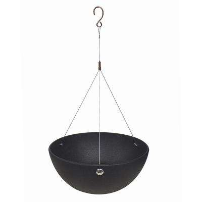 Allegria 18 in. W x 8.5 in. H Round Slate Rubber Hanging Self-Watering Planter
