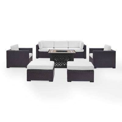 Biscayne 7-Piece Wicker Outdoor Sectional Set with White Cushions