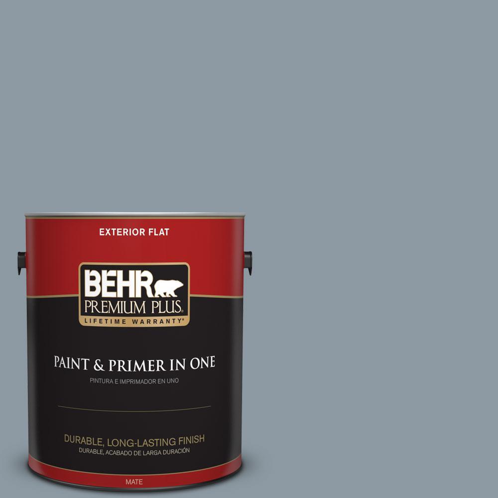 1-gal. #N490-4 Teton Blue Flat Exterior Paint