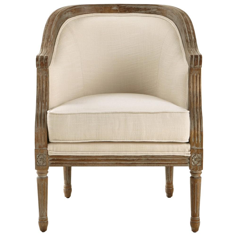 La Petite Barrel Natural Upholstered Arm Chair