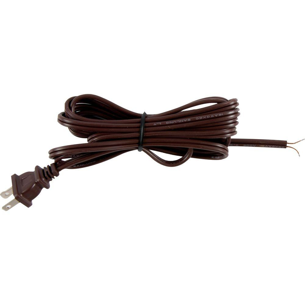 GE 8 ft. Replacement Cord Set with Polarized Plug on 1-End, Brown ...