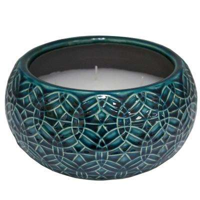 8 in. Blue Rivage Multi-Wick Ceramic Citronella Candle