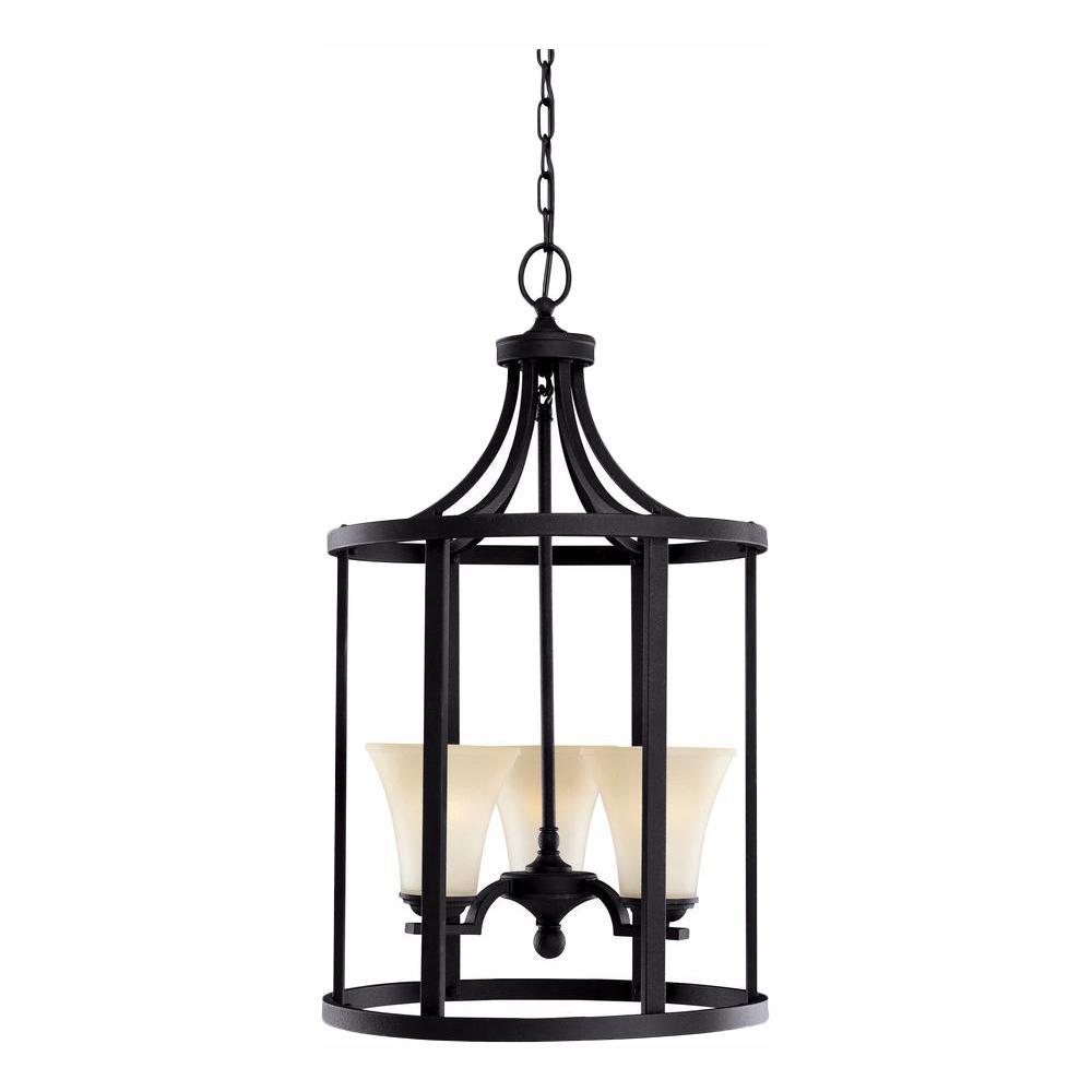 Somerton 3-Light Blacksmith Hall-Foyer Pendant with LED Bulbs