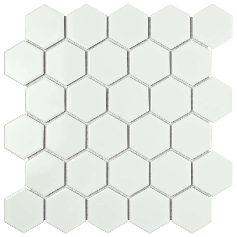 Merola Tile Metro Hex 2 In Glossy White 10 1 2 In X 11
