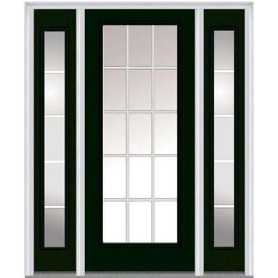64 in. x 80 in. Grilles Between Glass Right-Hand Full Lite Classic Painted Steel Prehung Front Door with Sidelites